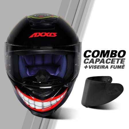 COMBO CAPACETE AXXIS EAGLE MG16 CELEBRITY EDITION BY MARIANNY GLOSS BLACK/RED E VISEIRA FUMÊ
