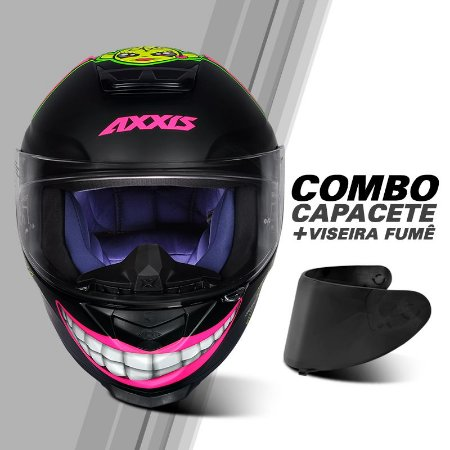 COMBO CAPACETE AXXIS EAGLE MG16 CELEBRITY EDITION BY MARIANNY MATT BLACK/PINK E VISEIRA FUMÊ