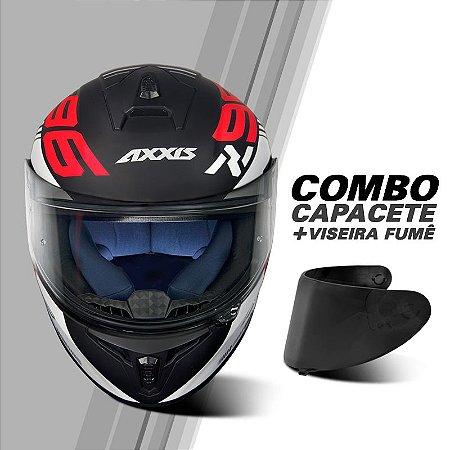 COMBO CAPACETE AXXIS DRAKEN Z96 MATT BLACK/RED/WHITE E VISEIRA FUMÊ