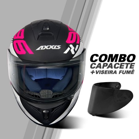 COMBO CAPACETE AXXIS DRAKEN Z96 BLACK/WHITE/PINK E VISEIRA FUMÊ