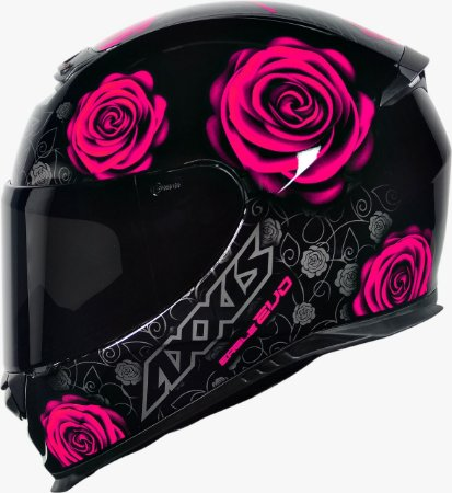 CAPACETE AXXIS EAGLE EVO FLOWERS GLOSS BLACK PINK