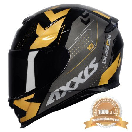 CAPACETE AXXIS EAGLE DIAGON GLOSS BLACK GOLD