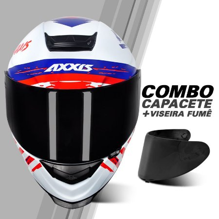 COMBO CAPACETE AXXIS EAGLE INDEPENDENCE + VISEIRA FUMÊ