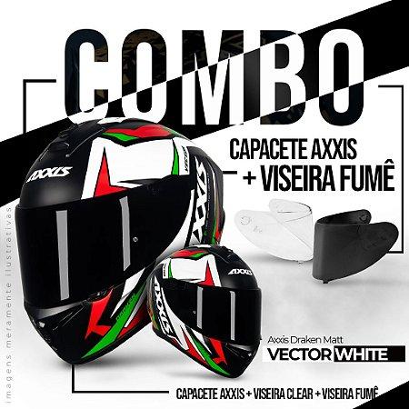 COMBO CAPACETE AXXIS DRAKEN VECTOR MATT WHITE RED GREEN+ VISEIRA FUMÊ