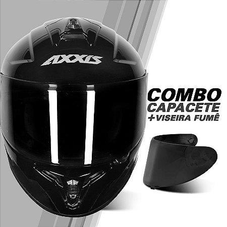 COMBO AXXIS EAGLE SOLID/MONO GLOSS BLACK E VISEIRA FUMÊ