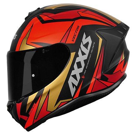 Capacete Axxis Draken Vector Matt Black Red Gold
