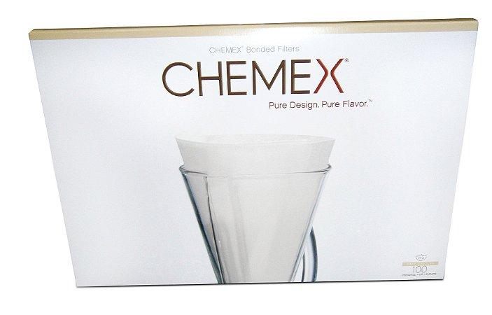 Filtro meia lua branco sem dobra para Chemex - 100 unidades