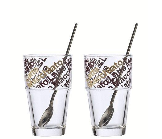 Set 2 peças copo para café latte macchiato 410ML - colher solo