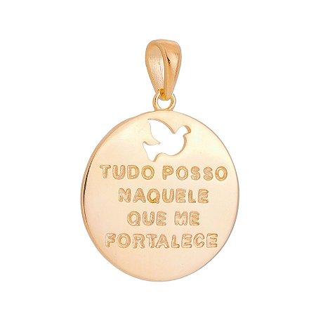 PINGENTE MEDALHA FOLHEADO A OURO 18K