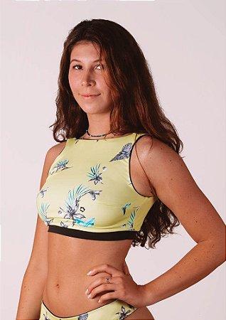 Top Biquíni dupla face decote nas costas preto floral amarelo Maldivas