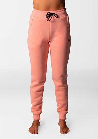 Calça moletom peluciada rosa