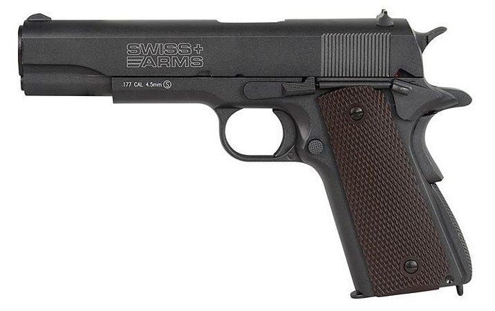 Pistola Airgun 1911 Black Swiss Arms Co2 4,5mm - Full Metal