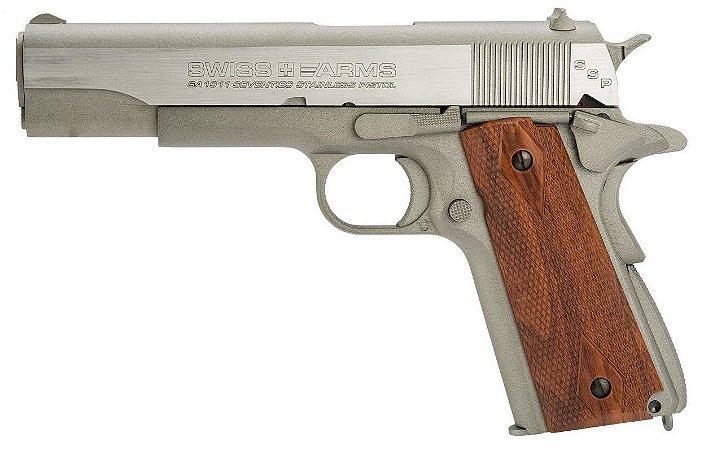 Pistola Airgun 1911 Silver Swiss Arms Co2 4,5mm - Full Metal