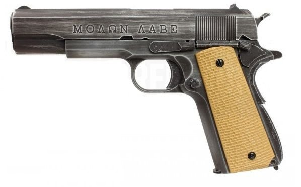 Pistola Airsoft 1911 AW Molon Labe GBB 6mm Desert Grip - Full Metal
