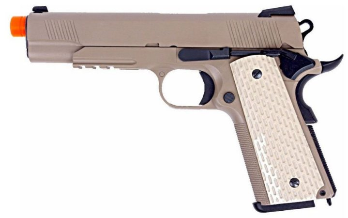 Pistola Airsoft 1911 Kimber Style Tan WE GBB 6mm