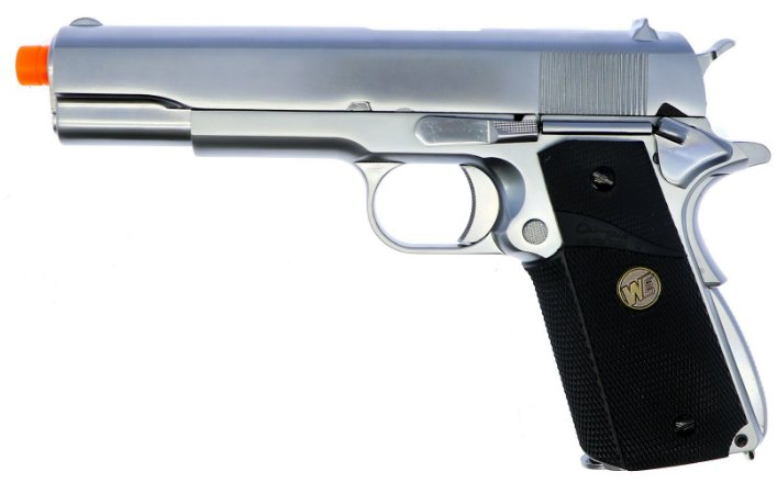 Pistola Airsoft 1911 WE GBB Matte Black Chrome 6mm - Full Metal