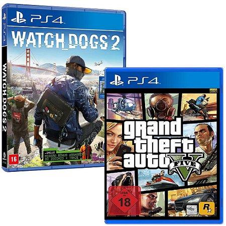 Jogo GTA V PS4 + Jogo Watch Dogs 2 PS4