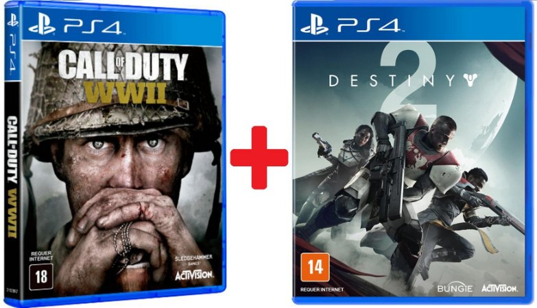 Jogos Destiny 2 e Call Of Duty: WWII - PS4