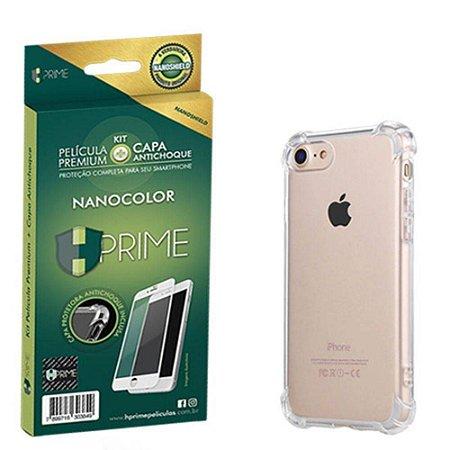 Kit NanoColor | Película Branco + Capa Antichoque Hprime | Apple iPhone 8