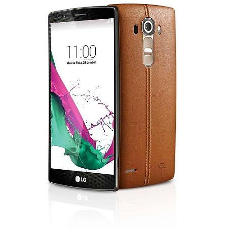 """Smartphone LG G4 Dual Chip H818P em Couro Marrom com Tela de 5.5"""", Android 5.0, 4G, Câmera 16MP e Processador Hexa Core de 1.8 GHz"""