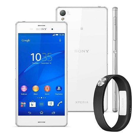 """Smartphone Sony Xperia Z3 D6633 Branco Tela 5.2"""", Dual Chip, Câmera 20.7MP, 3G/4G, Android 5.0 Quad-Core 2.5 GHz + SmartBand"""