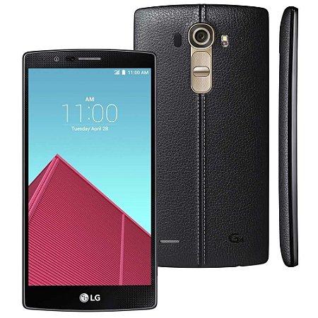 Smartphone LG G4 Dual Chip H818 Preto com a Capa em Couro Tela de 5.5, Android 5.1, 4G, Câmera 16MP