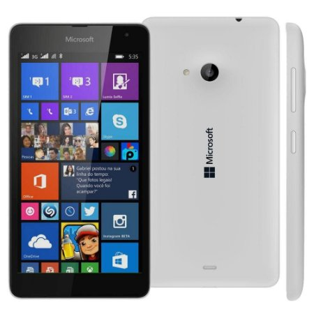 "Smartphone Microsoft Lumia 535 Dual Chip Branco com Windows Phone 8.1, Tela de 5"", Câm. 5MP, 3G"