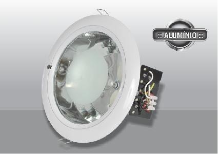 Luminária Redonda com Vidro Aba Arredondada 2x20W Branco BLAN