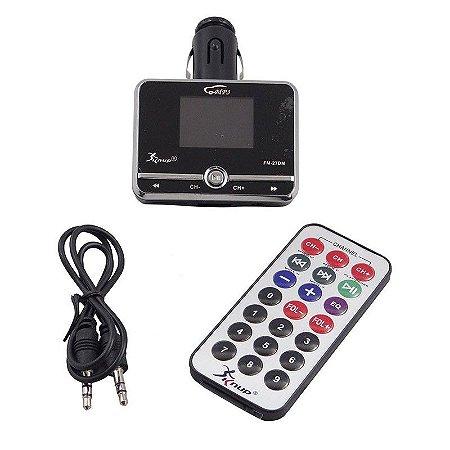 Transmissor Fm Veicular Mp3 Knup Cartão Sd Usb Navega Pastas