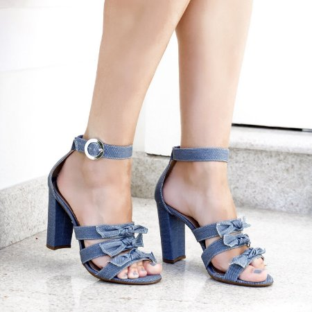 Sandália Média 3 Laços - Jeans