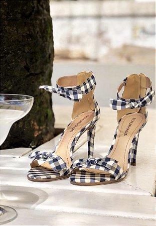 Sandália Salto Fino com Laço - Xadrez