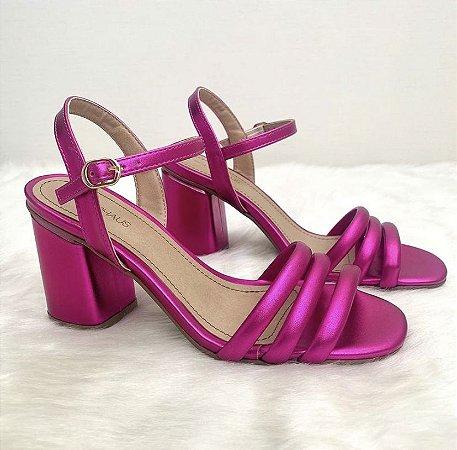 Sandália Salto Médio Bloco - Pink