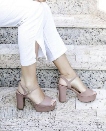 Sandália Salto Médio Cabedal Curto - Brown