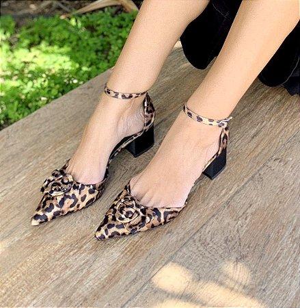Sapato baixo com fivela - Leopardo