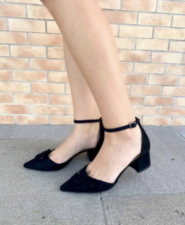 Sapato baixo com fivela - Preto