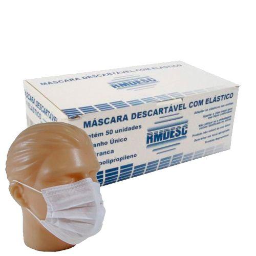 MASCARA TRIPLA C/ ELASTICO BRANCA CX C/ 50UN - RMDESC