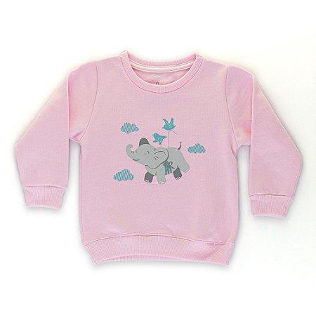 Casaco Moletom Infantil Flanelado - Algodão - Rosa Claro - Estampado