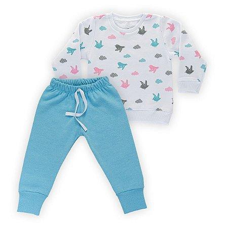 Conjunto Moletom Infantil Flanelado - Algodão - Branco e Azul Estampado