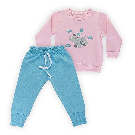 Conjunto Moletom Infantil Flanelado - Algodão - Rosa e Azul - Estampado