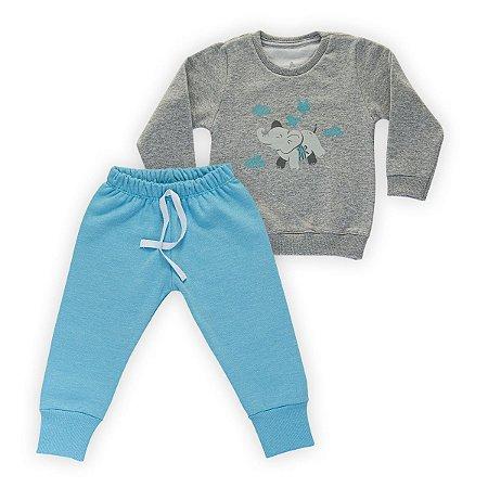 Conjunto Moletom Infantil Flanelado - Algodão - Mescla e Azul - Estampado