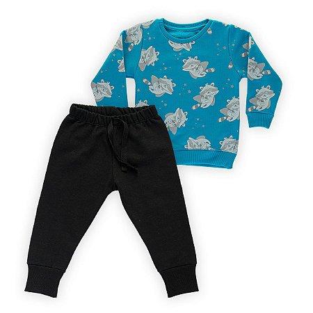 Conjunto Moletom Infantil Flanelado - Algodão - Azul e Preto Estampado