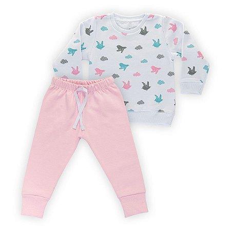 Conjunto Moletom Infantil Flanelado - Algodão - Branco e Rosa Estampado