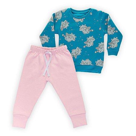 Conjunto Moletom Infantil Flanelado - Algodão - Azul e Rosa Estampado
