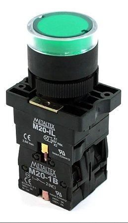 Botão Pulsador Iluminado  Verde 220v 1NA+1NF