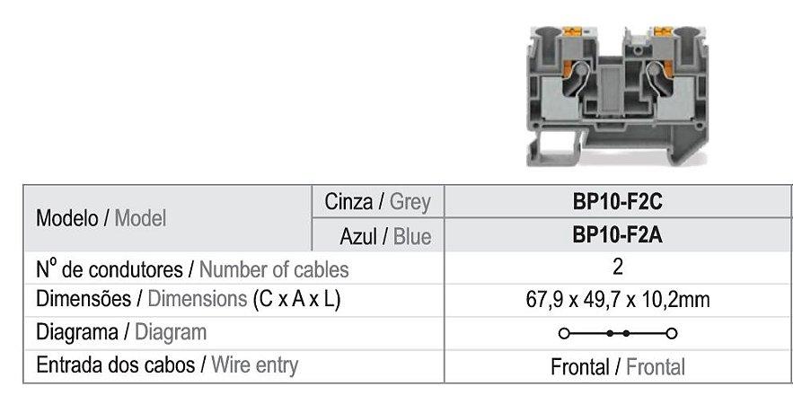CONECTOR PASSAGEM PUSH-IN 2,5MM² - 2 VIAS - CINZA