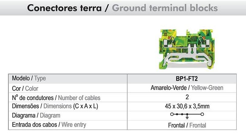 CONECTOR TERRA PUSH-IN 2,5MM² - 2 VIAS