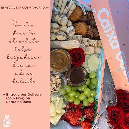 DIA DOS NAMORADOS - Fondue Doce de Chocolate Belga, Brigadeiro Branco e Doce de Leite - Entrega dia 12/06/2021