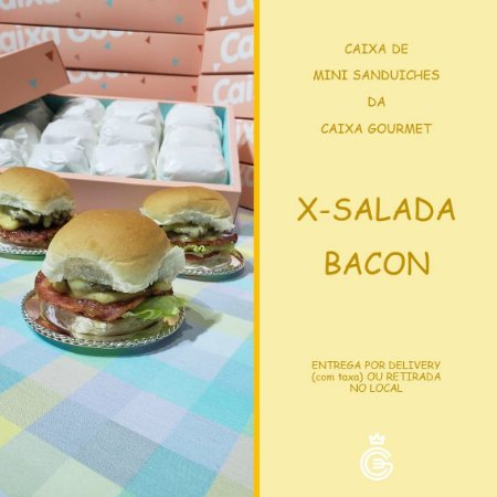 Kit Caixa Sanduíche - Mini X-Salada Bacon (15 unidades)