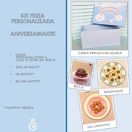 Kit Festa PERSONALIZADA (ANIVERSARIANTE) - Salgado + Doce + Bolo (5 Pessoas)