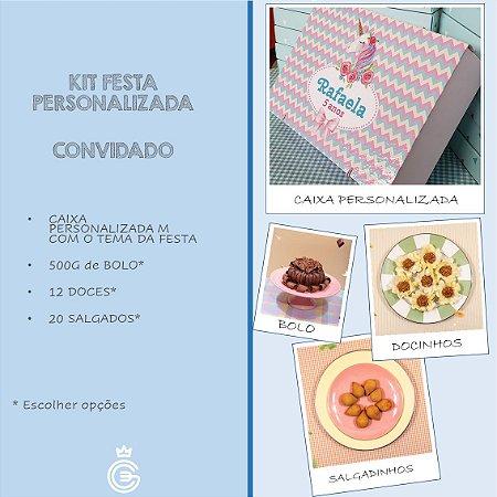 Kit Festa PERSONALIZADA (CONVIDADO) - Salgado + Doce + Bolo (2 Pessoas)
